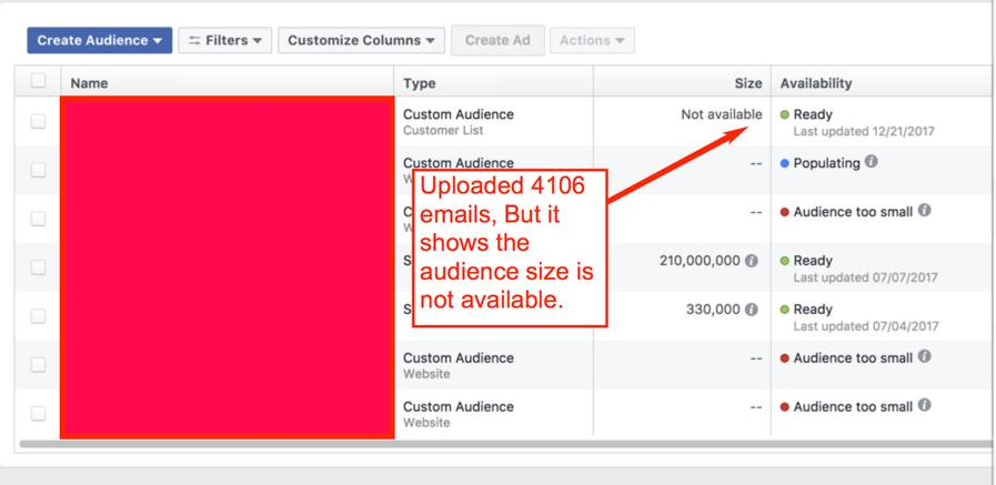 facebook audience not working