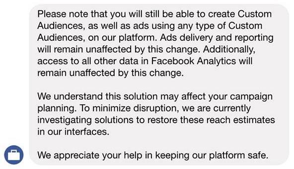 facebook custom audience not working