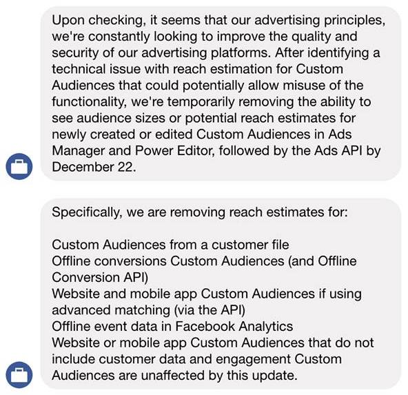 facebook removes estimated reach preview